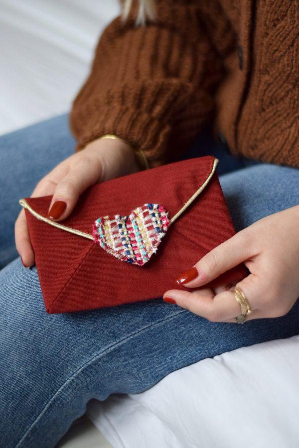 Pochette enveloppe cœur Rouge baiser 2